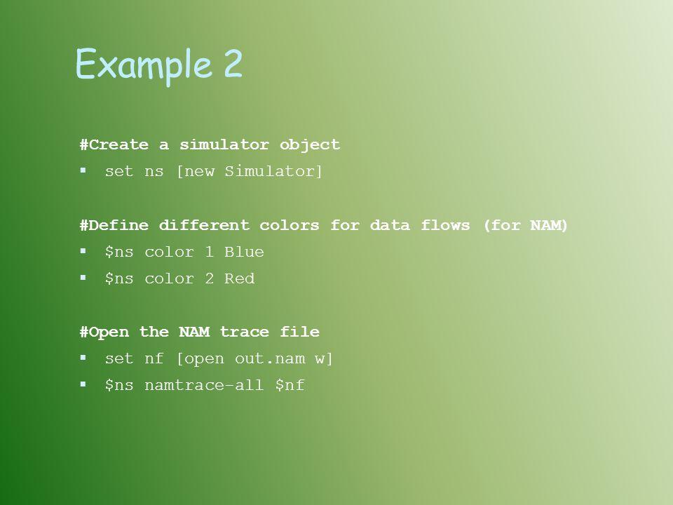 Example 2 #Create a simulator object set ns [new Simulator]